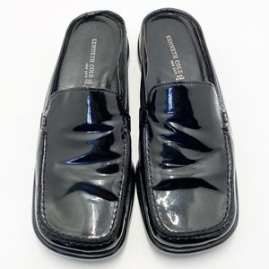 Kenneth Cole New York Patent Black Mules Size 8.5